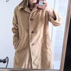 Vintage 60s Camel Luxury Wool Mohair Pea Coat